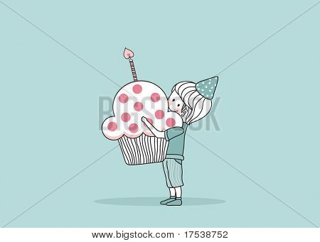 boy with birthday cupcake