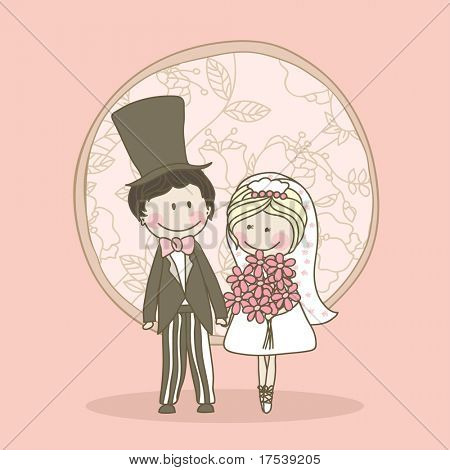 romantic wedding set - couple standing and holding hands