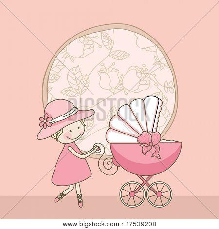 tarjeta de bebé niña anuncio