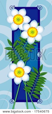 Vector card with white flowers