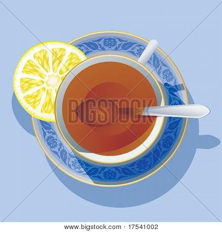 Raster version of vector image of the cup of tea (contain the Clipping Path)
