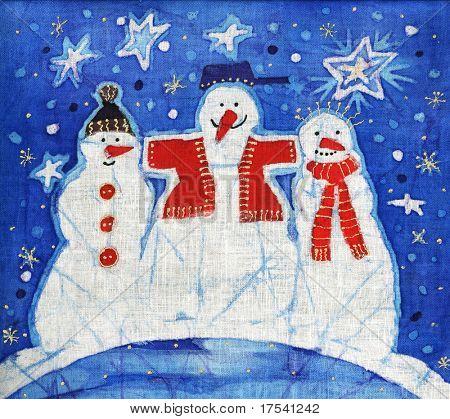 Bild von meinem Batik-Kunstwerk mit drei mans Schnee-