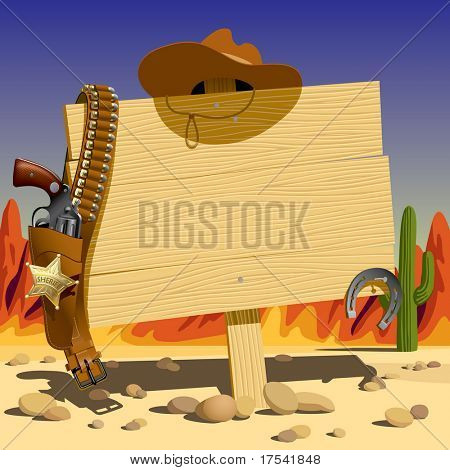 Vector illustration with a wood sign in the Wild West