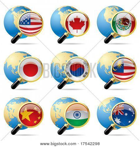 Vector zoom mundo bandera de iconos con un globo