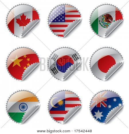 Vector zoom world flag labels