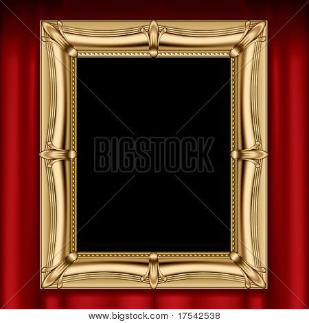 Isolated raster version of vector gold frame on a red curtain (contain the Clipping Path)