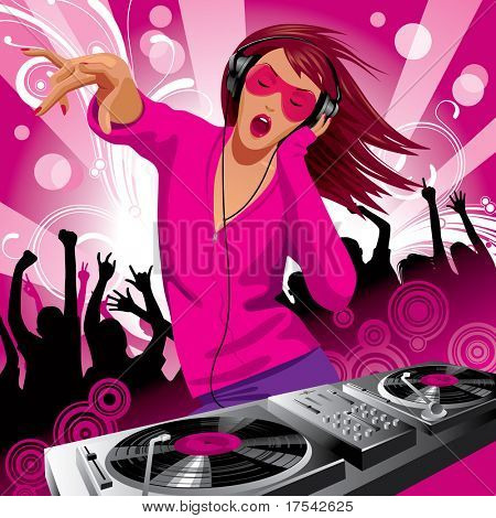 Isolated raster version of vector image of beautiful DJ girl and people dancing at a party (contain the Clipping Path of the girl with Control Panel)