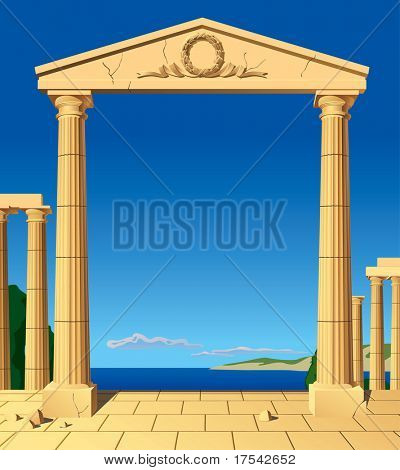 Raster version of vector image of classical antic entrance