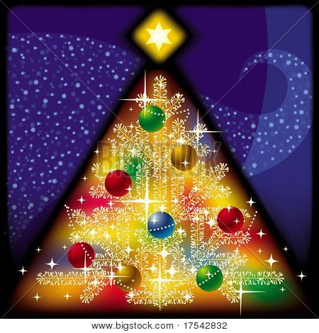 Raster version of vector Christmas &  New Year greeting card with a Xmas tree