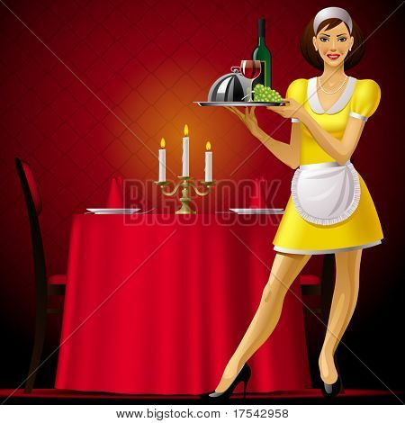 Raster version of vector image of a young waitress in red restaurant interior with a light