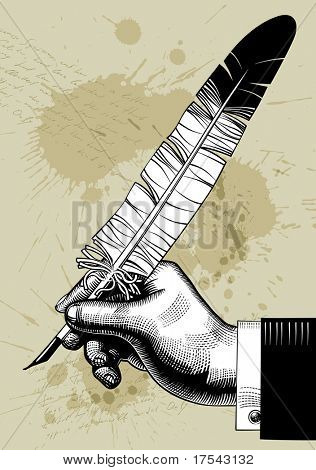 Vector vintage image of hand with a feather