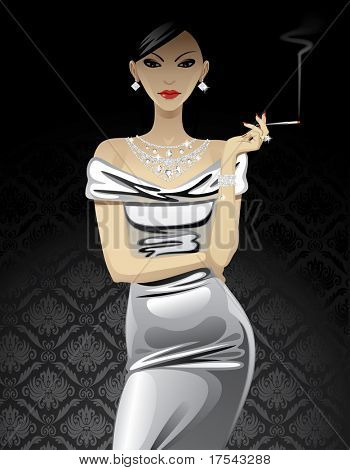 Vector beautiful fashion woman in metallic evening dress with diamond jewelry and a cigarette on black background