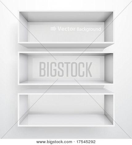 3d isolated Empty white bookshelf. Vector illustration