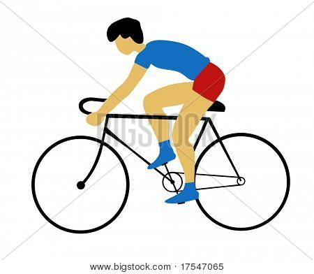 silhouette bicyclist on white background