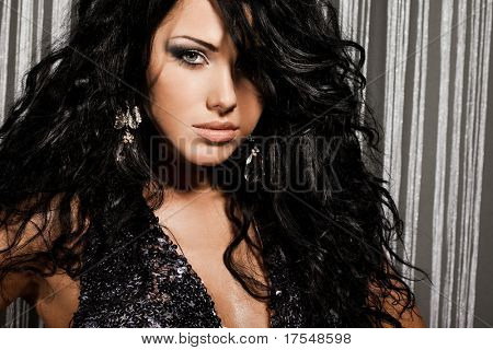 elegant fashionable woman with black hair