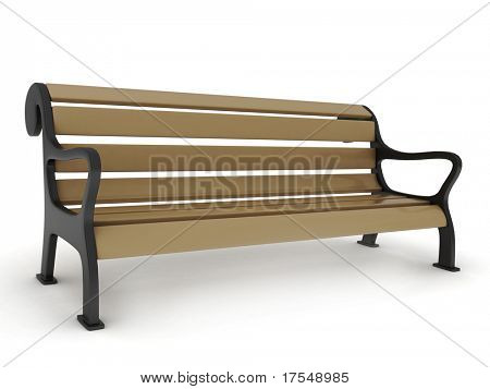 3D Illustration of a Park Bench
