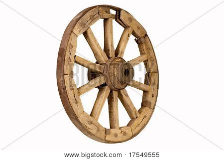 antique wooden wheel isolated on white background