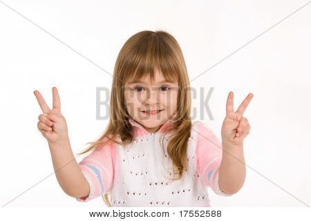 Nice little girl showing two fingers on each hand