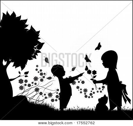 silhouette kids with flowers and butterflies