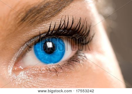 beautiful woman`s open blue eye