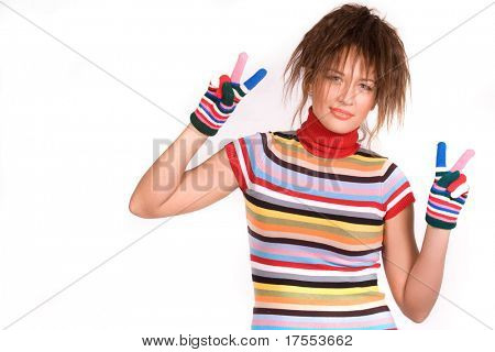 Pretty young girl dressed rainbow striped clothes showing two fingers on each hand