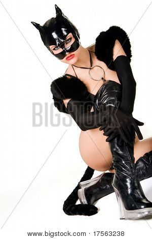 Hot beautiful model in latex cat costume