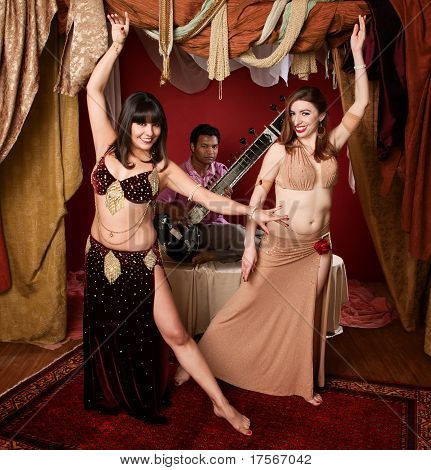 Beautiful Belly Dancers With Sitar Musician