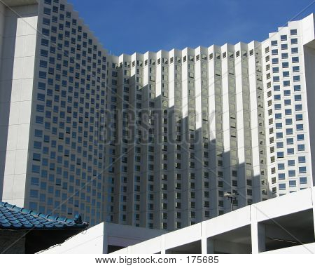 Hotel Exterior With Stairstep Shadows