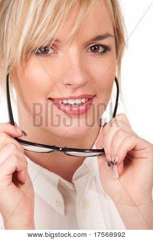 Beautiful blond with eyeglasses portrait