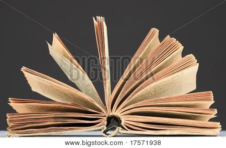 Opened book with fantail sheets over dark background
