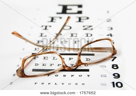 Eye Glasses Sitting On Top Of An Eye Exam Chart