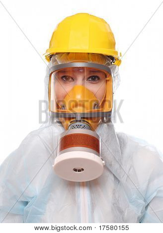 Asian woman in gas mask and bio-hazard suit on white background.