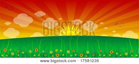 FLOWERS, SUN, GRASS AND CLOUDS (vector)