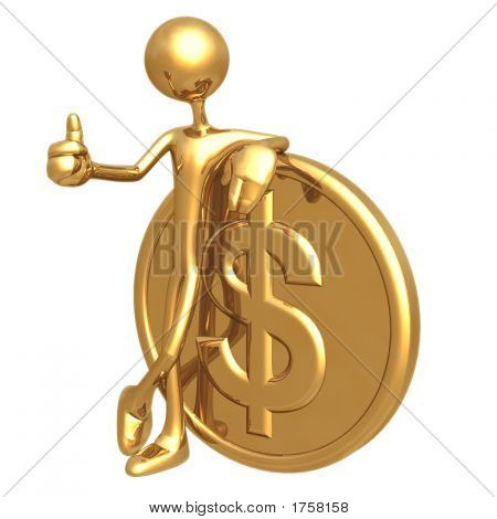 Thumbs Up Golden Dollar Coin
