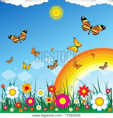 Butterflies, rainbow, sun, flowers, grass, clouds and blue sky