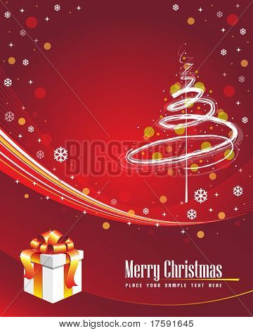 Red winter background with gift box