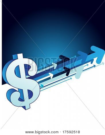 Dollar sign on the abstract background