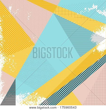 poster of Abstract vector background in trendy retro 80s 90s memphis style. Universal card pastel colors. Retro design fashion art. Modern abstract design poster cover card design. Geometric background in retro 80s-90s style. Memphis trendy art.