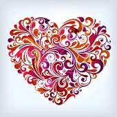 image of love heart  - abstract floral heart - JPG