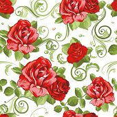 Seamless wallpaper pattern with of collection red roses isolated on white design background, vector
