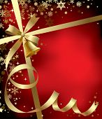 Vector Christmas & New-Year's greeting background with a gold ribbon