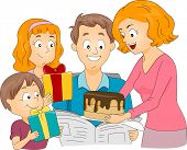 pic of birthday-cake  - Illustration of a Family Celebrating Father - JPG