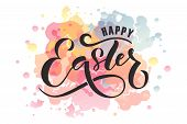 Hand Drawn Easter Postcard, Card, Invitation, Poster, Banner Template. Easter Lettering Typography. poster