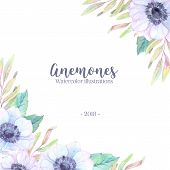 Hand Drawn Watercolor Illustration. Wedding Invitation Or Greeting Card With Leaves And Anemones Flo poster