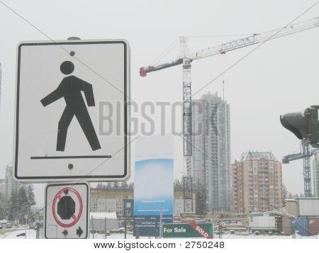 Cranes And Crosswalk