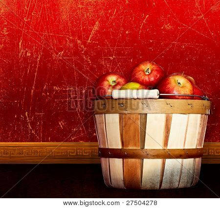 Basket Of Healthy Red Delicious & Apples ~ Vintage Antique Textured & Distressed Red Backg
