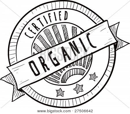 Organic food label sketch