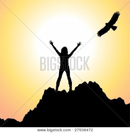 Vector Girl On The Mountain And Flying Bird