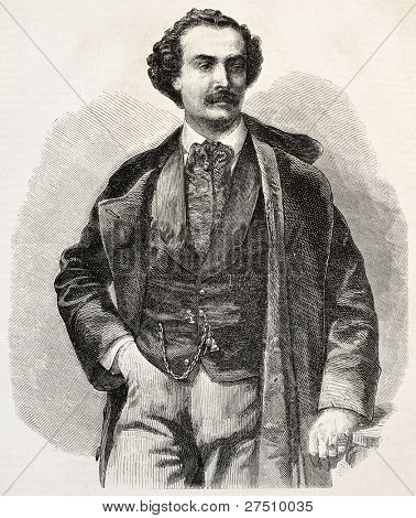 Achille-Felix Montaubry old engraved portrait. French musician and operatic tenor. Created by Marc, published on L'Illustration, Journal Universel, Paris, 1858