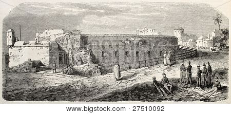 Fort-Neuf old view, Algiers (military prison). Created by Gaildrau, published on L'Illustration, Journal Universel, Paris, 1858